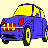 Blue cute car coloring