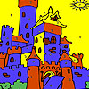 Blue castle coloring