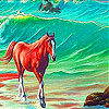 Alone horse in the sea slide puzzle